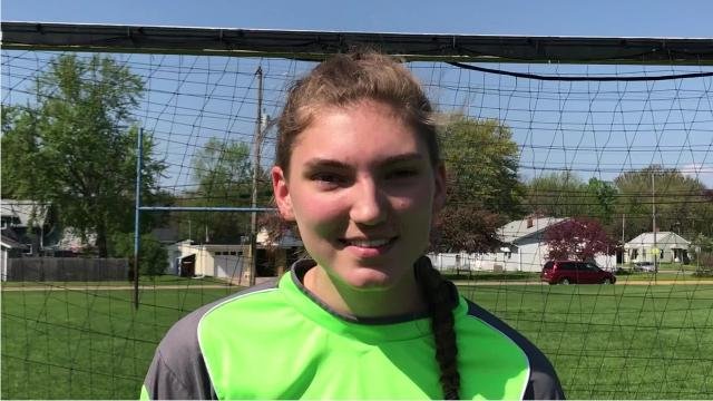 Assumption senior Rachel Kaminski moved to keeper from forward this season without another viable option on the roster and has provided the Royals with a rock solid final line of defense.