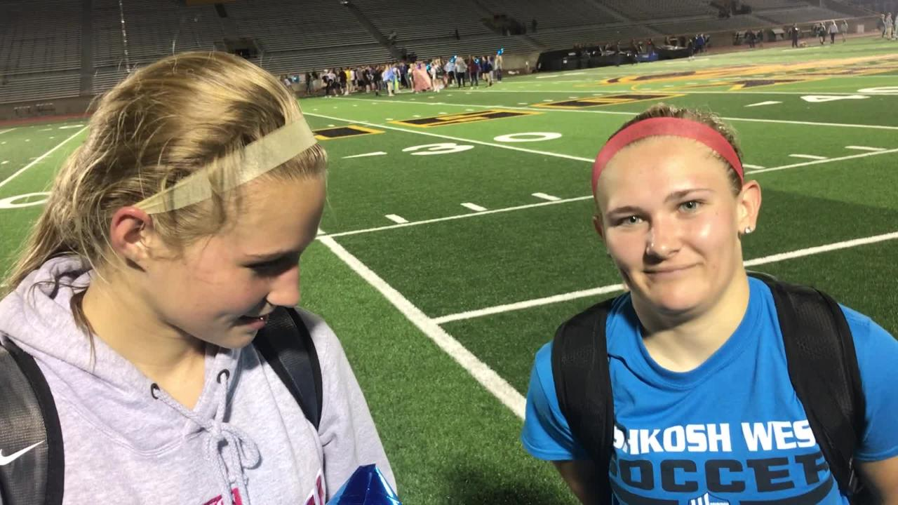 Oshkosh West's Jillian Ruark and Lauren Singstock each tallied second-half goals to lead the Wildcats to a 3-1 win over rival Oshkosh North on Tuesday.