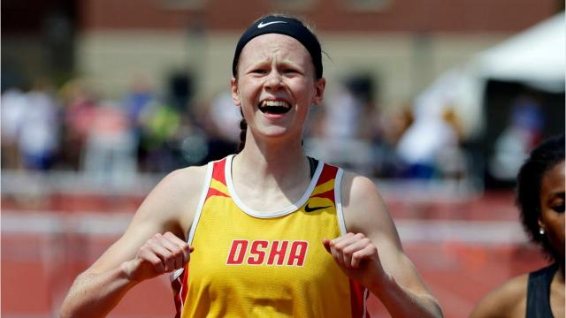 DSHA sophomore Jadin O'Brien talked about her new rival in the hurdles, being coachedby her mother, Leslie, and the joy of running.
