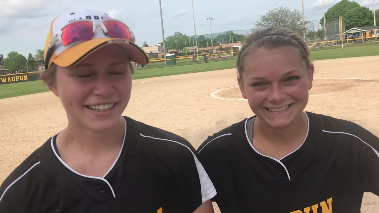 Waupun's Rachel White (left) and Megan Gerber helped fuel the Warriors 8-0 win over Sheboygan Falls in a WIAA Division 2 regional semifinal