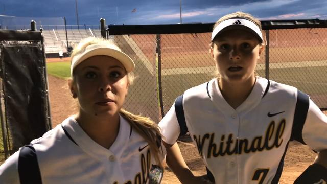 Haley Wynn (left) and Kathryn Bay discus the Falcons' 2-1 win over Portage on Friday night to advance to the state title game.