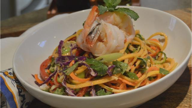 Rainbow Pad Thai is a melange of spiralized vegetables and other fresh ingredients.