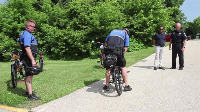 South Milwaukee police officers can ride up to 30 miles per hour on a custom Cheata bicycle complete with lights and siren.