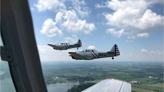 Reporter Devi Shastri's plane takes off over Oshkosh at EAA AirVenture 2018.