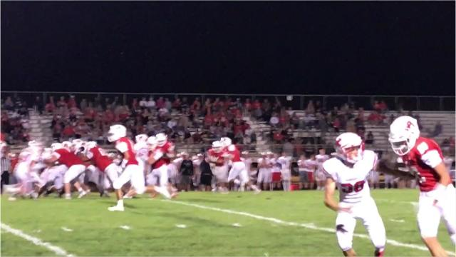 Wisconsin Rapids senior halfback Nash Coombs finds running room against Kimberly on Thursday Night. Coombs gained 58 yards on 23 carries in a 42-0 loss for the Raiders.