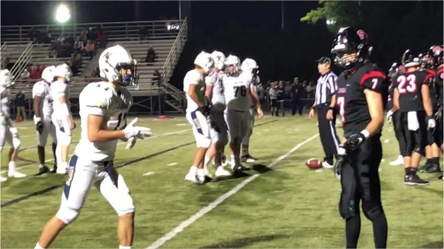 Appleton North senior quarterback Carter Robinson scores the second of his two fourth-quarter touchdown runs to help the Lightning pull away for a 56-36 win over SPASH on Friday night.