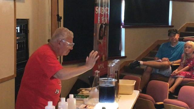Special guest Dr. Bassam Shakhashiri of UW-Madison delighted his young audience with a demonstration on chemical reaction during Waterfest at Crossroads at Big Creek, Sturgeon Bay, on Sept. 15, 2018.