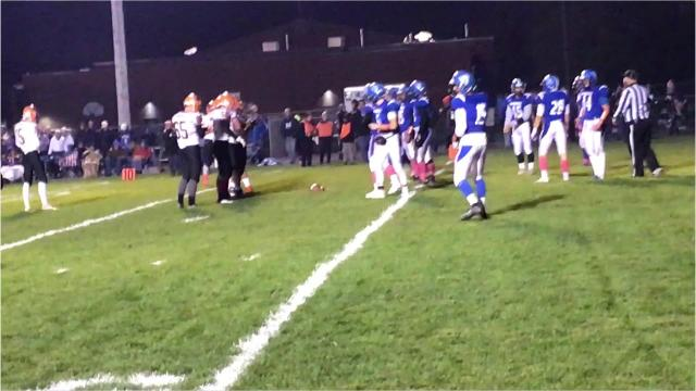 Iola-Scandinavia running back Bryce Huettner finds the end zone from 2 yards out to give the Thunderbirds a 7-0 lead over Amherst on Friday night.