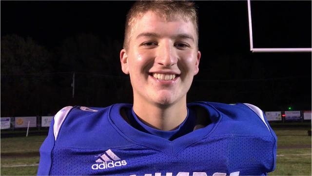 Amherst senior wide receiver/linebacker Zach Toelle discusses a 35-13 win over New Holstein in the opening round of the Division 5 playoffs Friday night.