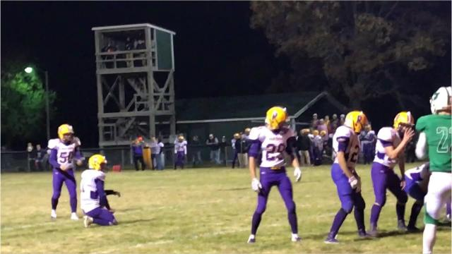Pittsville placekicker Drew Bratlie connects for a 23-yard field goal in the third quarter to put the Panthers up 17-0 in their Division 7 second round playoff matchup with Almond-Bancroft on Friday night.