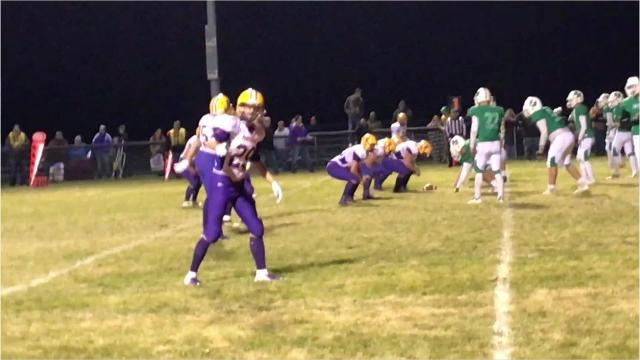 Almond-Bancroft stops Pittsville for a short loss in their Division 7 second round playoff matchup Friday night. The Panthers won 17-7.