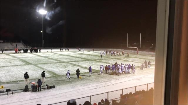 Grantsburg's Bryce Roufs is stuffed by the interior of the Iola-Scandinavia defensive line on a 2-point conversion to preserve a 27-25 win in a Division 6 state semifinal Friday night.