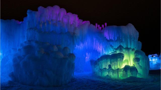Construction began on Lake Geneva's Ice Castles the week of Thanksgiving.