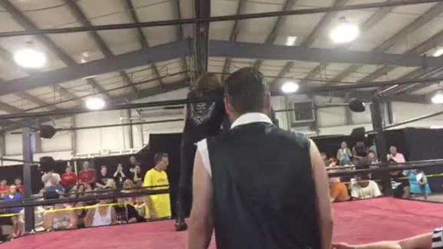 Jeff Barron served as J.T. Hogg's guest manager at a recent Premiere Wrestling Alliance bout in Lancaster.