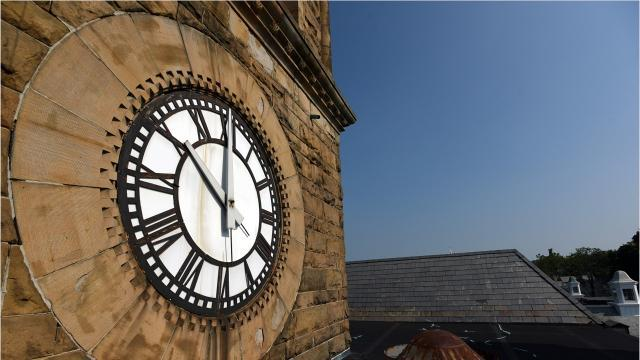 Clock on Lancaster city hall in need of repair.