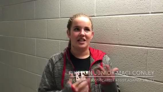 In a 3-0 win over Valley, Piketon junior Maci Conley recorded her 1,000th career assist.