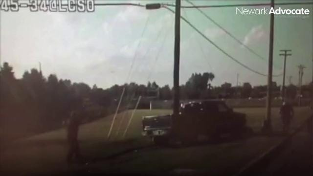 Dash camera video released Thursday by the Licking County Sheriff's Office shows the moment Sgt. Jeff Miller was struck by a vehicle attempting to flee from police. The incident occurred on Aug. 19, 2017.