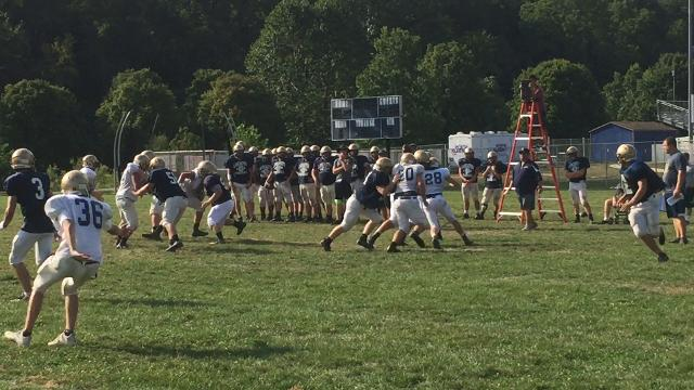 Lancaster offense gets in a little work during Tuesday's practice.
