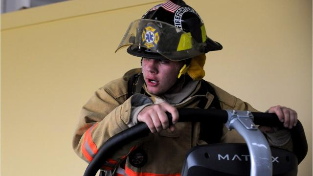 Berne Township volunteer firefighter Jared Wehrle walked 110 flights of stairs Monday to remember the first responders who died on 9/11. Wehrle made the climb at the Robert K. Fox Family YMCA in Lancaster.