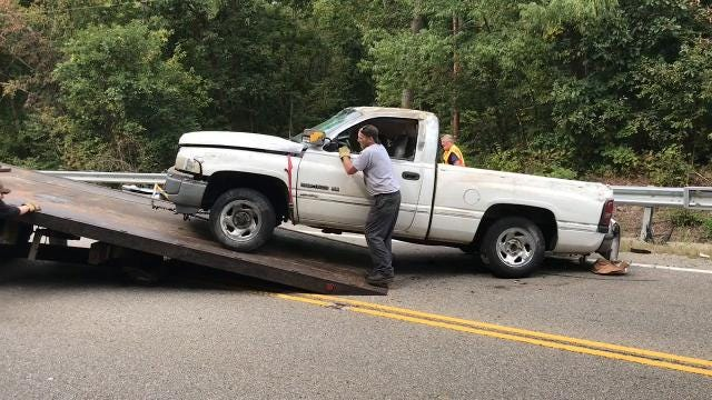 Shannon Loughman and Matthew Angle of Newark were in a white pickup truck that rolled over on Ohio 16 when the right rear tire came off.