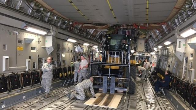 Twenty-plus members of the 200th RED HORSE Detachment 1 Wednesday deployed to the Virgin Islands for Hurricane Irma relief, bringing equipment to setup housing, provide water and power and more.