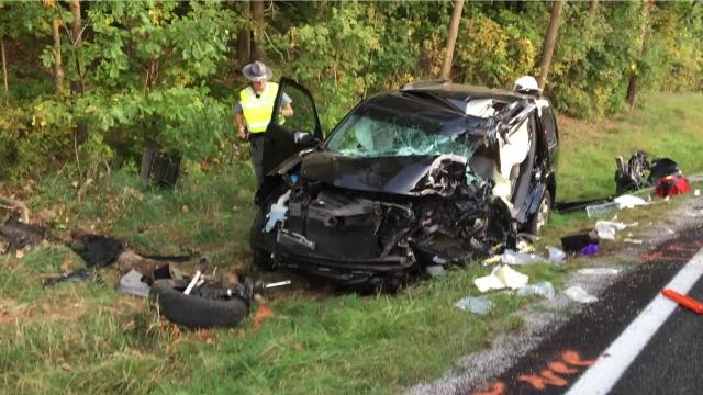One person was taken to the hospital with incapacitating injuries Sunday evening after a car crashed into a tree on Ohio 546 near Lexington High School, the Ohio State Highway Patrol reported.
