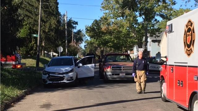 Two people were injured Saturday afternoon in a two vehicle crash at Harker and Mulberry streets.
