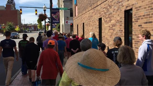Hundreds of people walked the streets of downtown Mansfield Sunday afternoon to raise money and awareness to fight hunger locally and around the globe.