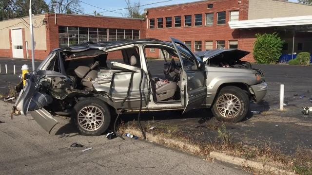 A man on foot jumped into a vehicle and tried to assault the driver while it was moving before the vehicle crashed into a telephone pole and fire hydrantMonday afternoon, police said.