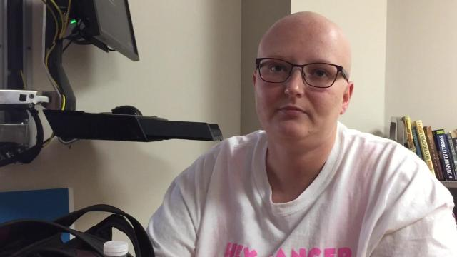 Megan Kessler is 28 years old and was diagnosed with breast cancer in July. She is undergoing chemotherapy and will have to undergo surgery and six weeks of radiation. She is relying on family and friends for support in her battle against breast cancer and is keeping her mind busy with work and wedding plans.