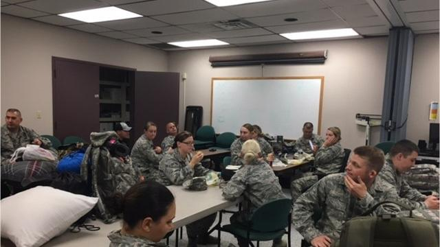 Members of the 179th and 178th Ohio National Guardsmen Wednesday deployed in a C-130 from Mansfield Lahm Airport for Puerto  Rico with a hot meals mobile kitchen trailer to feed military members and first responders.