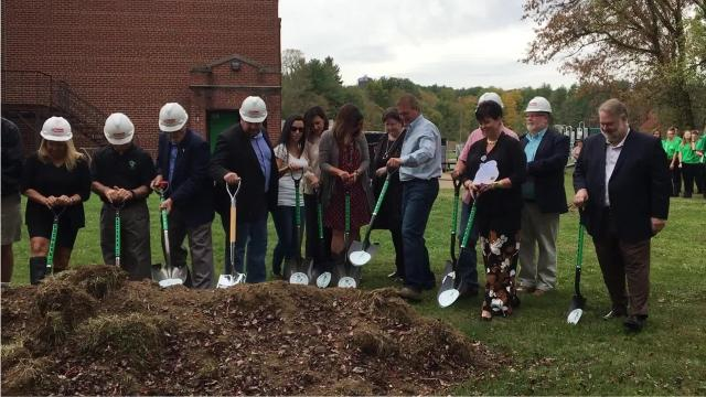 Sunday's ceremony recognized the Clear Fork Valley Local Schools' projectto build a new Bellville Elementary School and Butler Elementary School.