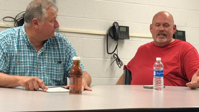 State Rep. Larry Householder listens to Coshocton Municipal Court Judge Tim France on issues he has with drug offenders and putting them in the local Coshocton Justice Center.