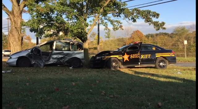 A Muskingum County Sheriff's Office Deputy collided with a minivan while responding to a call Thursday evening.