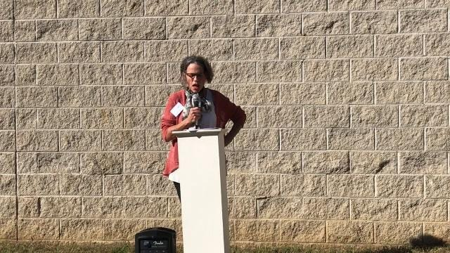 Anne Cornell, Director of the Pomerene Center for the Arts, explains how the mission and goals of the art center tie into the construction of the Main Street park, a $600,000 project made possible through grants and donations.