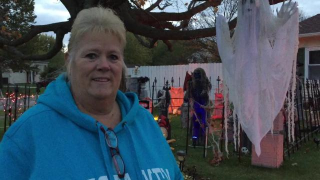 "Patty Beck puts on one of the spookiest Halloween displays in the city. She has made many of the clowns and characters that lurk on her porch Halloween night, including the clown from Stephen King's ""It"" and Freddy Krueger from ""A Nightmare on Elm Street."""