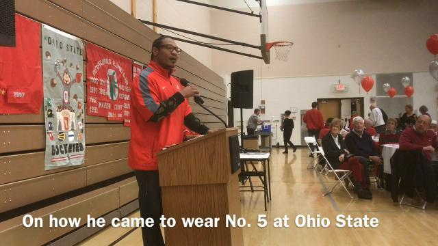 Former OSU RB Michael Wiley talks at the Buckeye Bash XXI in Marion