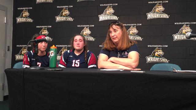 Fairfield Christian players and coach Mary Beth Dewese talk about overcoming 15-5 deficit in second set.