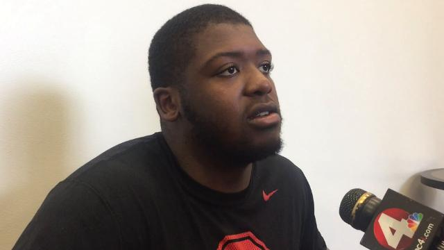 OSU offensive tackle Jamarco Jones helped pave the way for 100-yard rushers Mike Weber and J.K. Dobbins vs. MSU