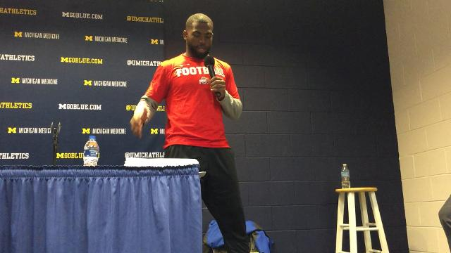 OSU quarterback J.T. Barrett describes the accidental contact with someone in the bench area that hurt his knee and eventually drove him from the Michigan game.