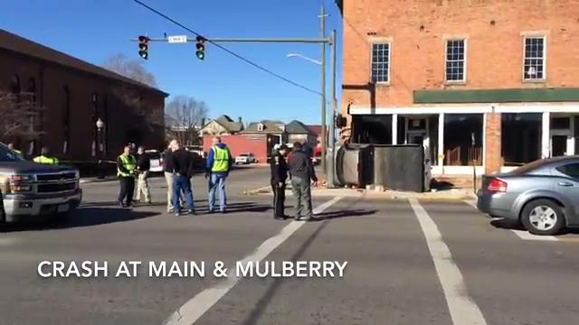 No one was injured in a Nov. 28, 2017 crash into a building at Main and Mulberry streets but the building's stability appears compromised.