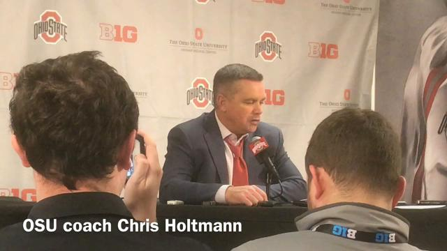 Ohio State men's basketball coach Chris Holtmann explains a second straight loss Wednesday night in the Schottenstein Center. OSU was beaten 67-66 in OT by Butler then 79-65 by Clemson.