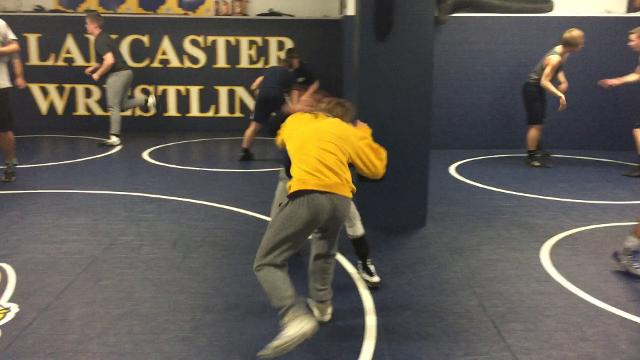 Lancaster's Cray Miller and Logan Agin putting in work during practice. The Gales are three-time Ohio Capital Conference-Ohio Division.
