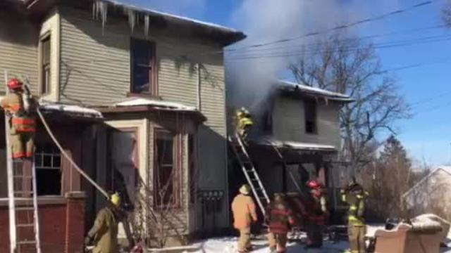 Mansfield firefighters Tuesday battled a house on fire at 296 W. Fourth St. No one was injured.