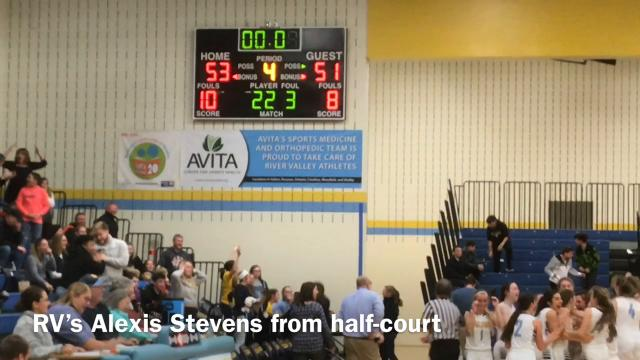 River Valley's Alexis Stevens gave her team a 53-51 victory over North Union after this buzzer-beater Friday night in a Mid Ohio Athletic Conference girls basketball game.
