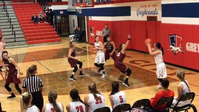 Morgan Sharps hit six of Newark's 13 3-pointers in a 62-21 victory against Grove City.