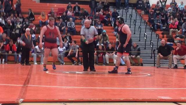 Crestview heavyweight Lane Fry with the winning takedown in only title match to go OT in 56th J.C. Gorman Invitational.
