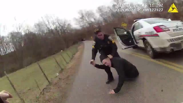 A Chillicothe police body camera captures the end of a high-speed pursuit and arrest of the driver on Jan. 10, 2018, along Schrader Road.