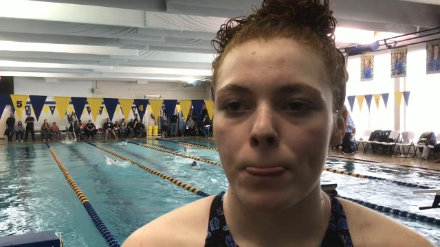 River Valley's Lily Arledge won the 100-yard breaststroke with a 1:12.33 to edge Ontario's Myla Creed by 0.15 seconds Saturday at Ontario during the Mid Ohio Athletic Conference Swimming Championships.