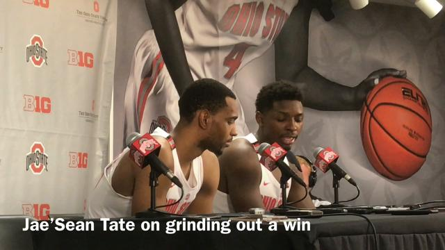 Ohio State head coach Chris Holtmann and forwards Jae'Sean Tate and Keita Bates-Diop talk about pulling out a win on the backend of four games in eight days.